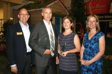 Ken and Leah James (center), owners of James Greenhouses, are winners of the 2012 Operation of the Year. They are pictured with Steve Larson, of BASF, which sponsored the Grower of the Year awards, and Greenhouse Grower Editor Robin Siktberg.