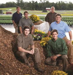 The six partners in Young's plant farm are all in the family. Clockwise from rear left: Greg Young, Burt Young, Rob Young, Drew Young, Bryan Young and Cale Young.