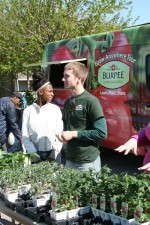 Jon Kinczyk was one of the the many Burpee Home Gardens representatives who handed out free produce, transplants and garden advice to residents and school children.