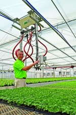 Rodney Elliott says eventually all of Integrated Botanics' greenhouses will have irrigation booms with LED lights.