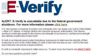 E-Verify website shutdown