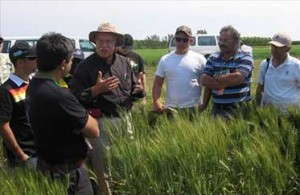 University of Nebraska wheat breeder Stephen Baenziger explains his breeding philosophy to students in 2012.