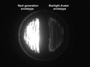 Comparison of 'Starlight Avatar' (right) and next generation (left) light emission archetypes in test cells.