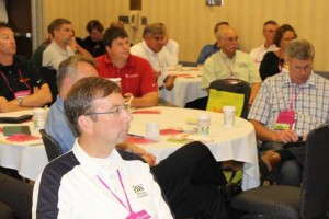 Audience members at the Top 100 Growers Breakfast were captivated by the information on pollinator health.