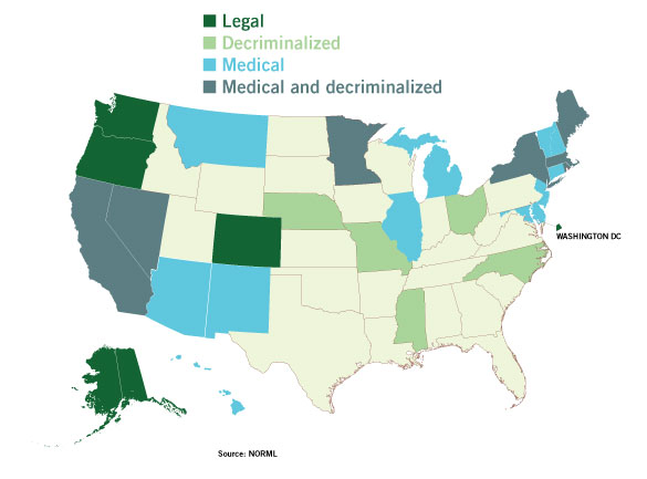 Marijuana Legalization Updates Greenhouse Grower - Marijuana legal us maps