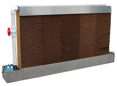 Quietaire's evaporative cooling system is stainless steel for corrosion resistance and self contained, meaning no sump is required.