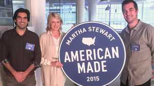 Viraj Puri (left) and Eric Hadley (right) of Gotham Greens with Martha Stewart (middle)