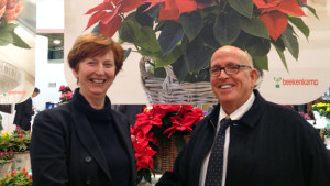 "Annie Beekenkamp, President and co-owner of the Beekenkamp Group and Micha Danziger Co-CEO of Danziger ""Dan"" Flower Farm, celebrate their partnership."