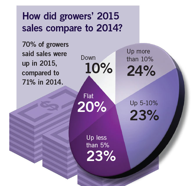 How did growers' 2015 sales compare to 2014
