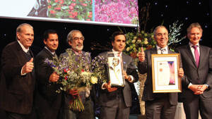 Costa Farms won International Grower of the Year. Representing the operation, (left to right) were Chuck Zala, Michael Vera, Menachem Ganon, Jose Costa, and Mike Rimland