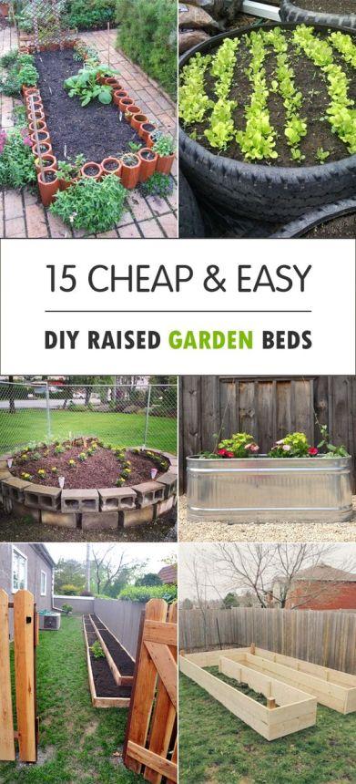 15 Cheap & Easy DIY Raised Garden Beds Pinterest pin
