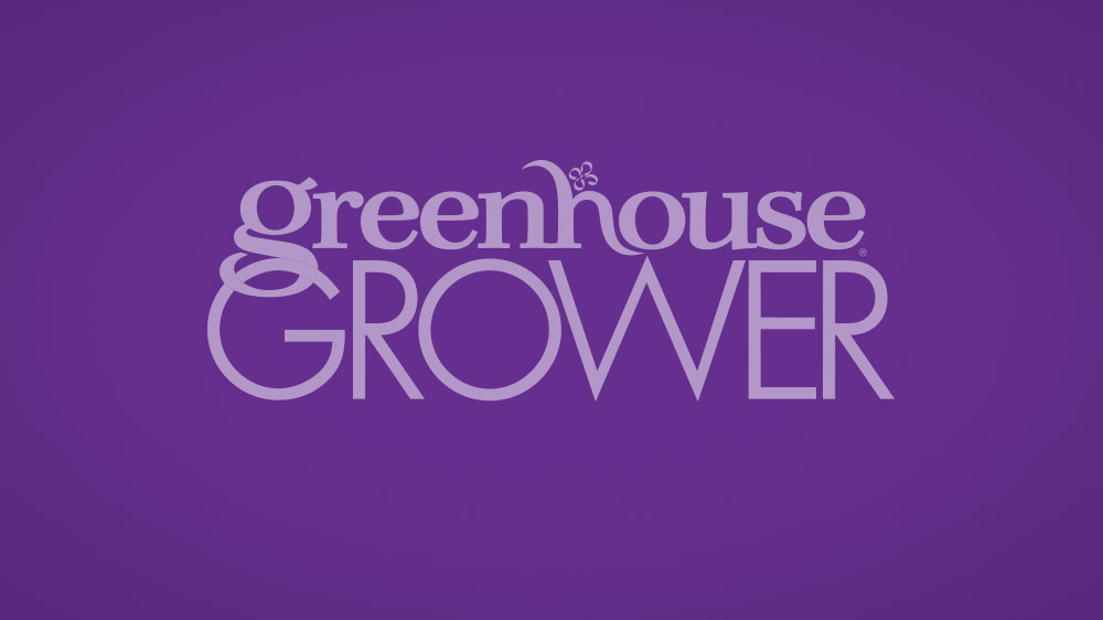 Purple/violet to dark gradient background with the Greenhouse Grower logo overlayed.