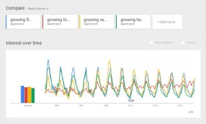 U.S. growing search with different adjectives