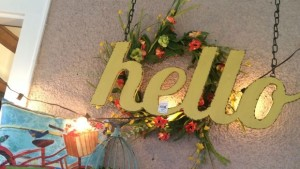 Hello sign at Bachmans Idea House FEATURE