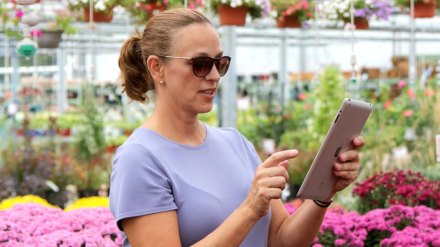 iPad In Garden Center