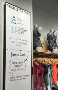 Ambassador's free classes are posted in the store so customers can join in.