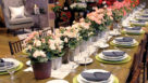Table setting with begonias for decoration