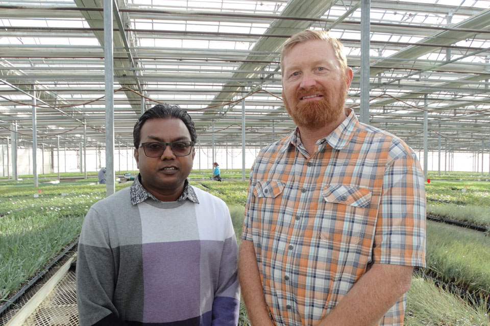 Jerrin Victor (left) is General Manager of Skagit's Mabton, WA, tissue culture lab, and Steve Tabor (right) is General Manager of Skagit's Watsonville, CA, facility.