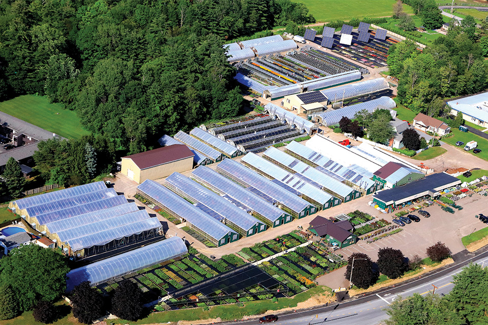 Claussen's Greenhouse Aerial Property View