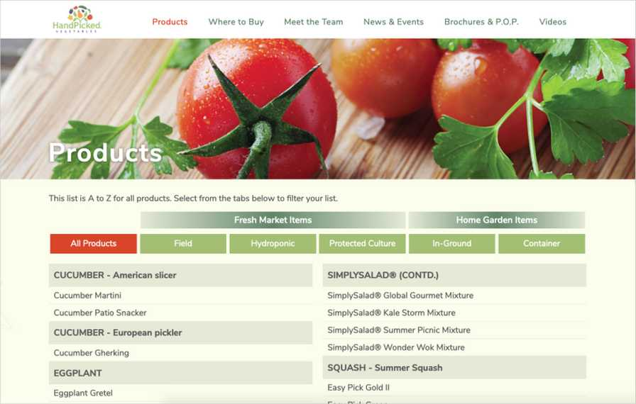 HandPicked Vegetables Site